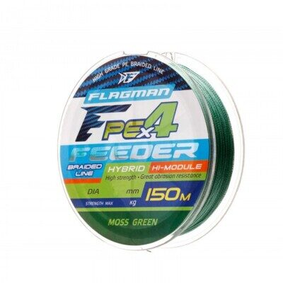 Шнур Flagman PE Hybrid F4 Feeder 150m Moss Green 0,16mm. Max8,5kg