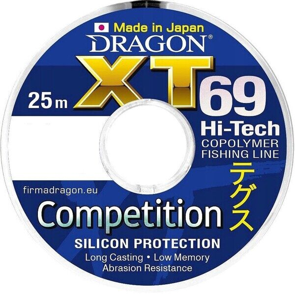 Леска DRAGON XT69 Hi-Tech COMPETITION 25 m 0.12 mm Синяя