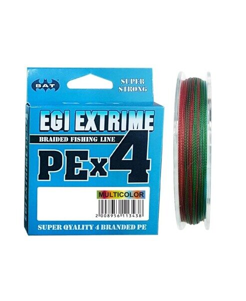 Леска плетеная BAT PE EGI EXTRIME NEW  Multicolor 125 м., 0,06 мм.