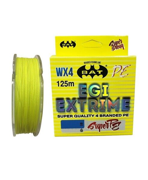 Леска плетеная BAT PE EGI EXTRIME Yellow 125 м., 0,20 мм.\14,9 кг.